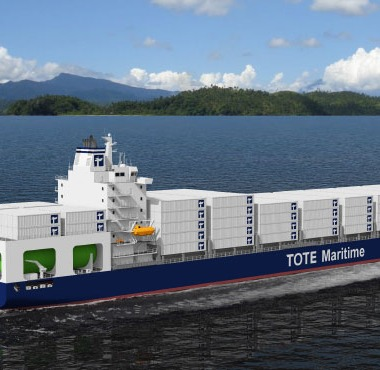 MAKING WAVES Artist rendering of TOTE Inc.'s new Marlin Class, the first liquefied-natural-gas-powered containership in the world.