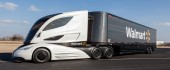 """SHIFTING TO THE FUTURE Walmart's prototype truck tractor is an example of the technology the retail giant is putting forward in an effort to """"green"""" its supply chain."""