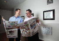 THE PRINT KINGS Aaron Kushner and business partner Eric Spitz parachuted into Orange County, California, and purchased the Libertarian-bent Register newspaper, one of the nation's largest dailies.
