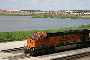 TRAINED FOR BUSINESS BNSF's intermodal parks, like Logistics Park Chicago pictured here, are built alongside its rail tracks to reduce dependence on costlier, less environmentally friendly trucks.