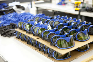 THE EYES HAVE IT  Roy Paulson of Paulson Manufacturing says his company has been able to attract a good engineering team in California, bringing concepts like these specialized safety goggles into reality.