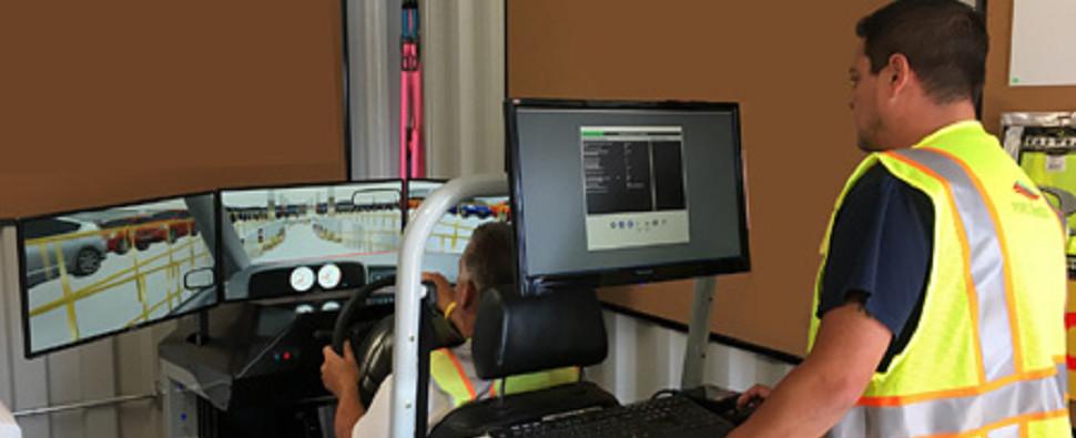 Simulator training for handling ro/ro shipments of export cargo and import cargo in international trade.