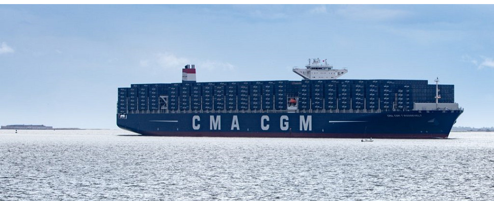 Vessel carries shipments of export cargo and import cargo in international trade.