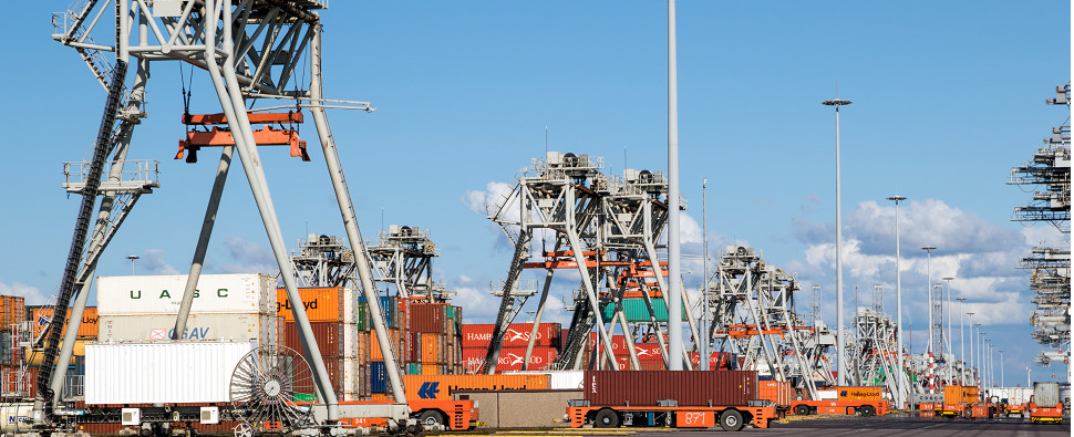 Automation for ports handling shipments of export cargo and import cargo in international trade.