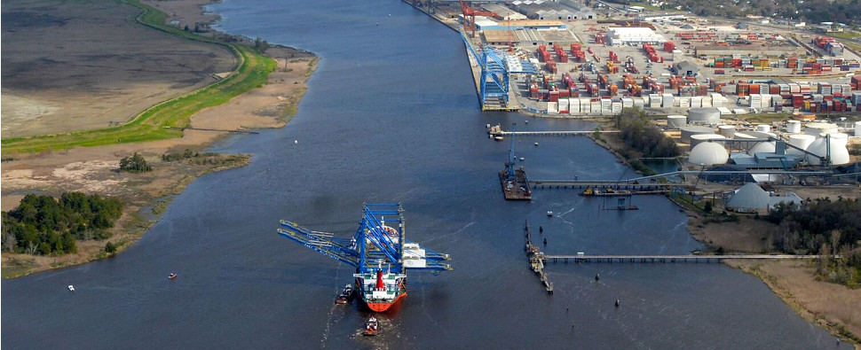 Cranes will allow port to handle more shipments of export cargo and import cargo in international trade.