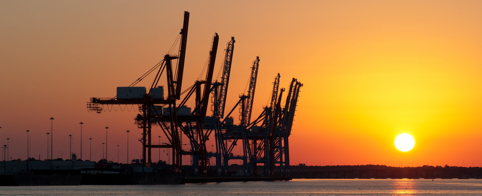 Port handled more shipments of export cargo and import cargo in international trade.